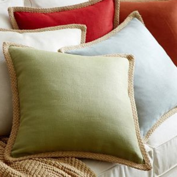 """NEW Pottery Barn Square Floral Accent Pillow Cover Tan Red Blue Green 18 x 18/"""""""